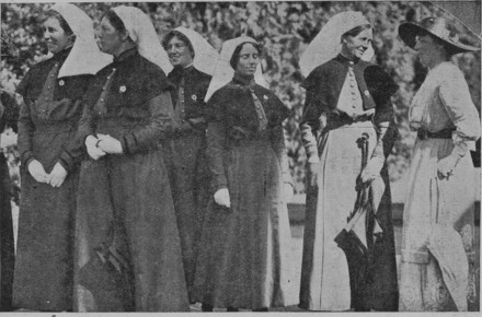 Group at the garden party given by Her Excellency Lady Liverpool to the staff of the Hospital Ship Maheno, 3rd Commission. Reading from Left to Right, Sister Camilla Steele 22/410, Sister Cecilia McKenny 22/409, Sister Annie Draper 22/417, Sister Margaret McIlwraith 22/418, Matron Amelia Bagley 22/408 and Lady Liverpool. Kai Tiaki: The Journal of the Nurses of New Zealand, Issue 2, 1 April 1917. Papers Past.