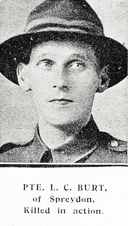 Portrait of Private Leonard Cooper Burt, Auckland Weekly News, 4 July 1918. Auckland Libraries Heritage Collections AWNS-19180704-41-18. Image has no known copyright restrictions.