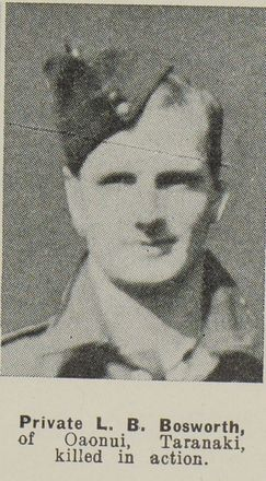 Photograph of Private Lawrence Bosworth of Oaonui, published in the Auckland Weekly News, 25 June 1941. Image kindly provided by Auckland Libraries Heritage Collections AWNS-19410625-26-47.