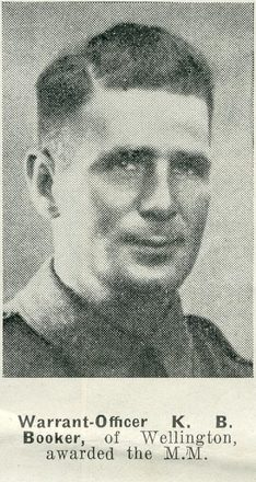 Portrait of Warrant Officer Kenneth Basil Booker, Auckland Weekly News, 13 May 1942. Auckland Libraries Heritage Collections AWNS-19420513-22-22. Image has no known copyright restrictions.