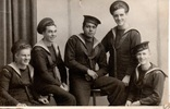 Group photograph of (left to right) Chess Waldron, Tony Gulliver, Paratene Bennett, Richard (Dickie) Evans, Joe Cotterill, July 1945, HMS Daedalus, Lee on Solent, Hampshire, England. All were Fleet Air Arm recruits. Image kindly provided by Barrie Stevens (March 2019). Image is subject to copyright restrictions.