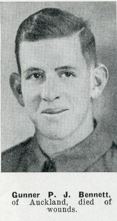 Portrait of Gunner Peter Jack Bennett, Auckland Weekly News, 11 February 1942. Auckland Libraries Heritage Collections AWNS-19420211-24-36. Image has no known copyright restrictions.