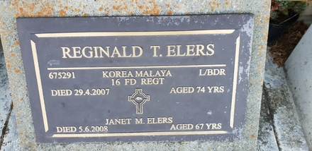 Gravestone of Lance Bombardier Reginald Tuhinga Elers, Riverside Cemetery, Masterton.  Image kindly provided by Willie Simonsen (March 2019). Image is subject to copyright restrictions.
