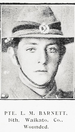 Portrait of Private Lewin Maughan Barnett, Auckland Weekly News, 1 July 1915. Auckland Libraries Heritage Collections AWNS-19150701-40-3. Image has no known copyright restrictions.
