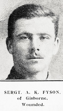 Portrait of Sergeant Albert Kemball Fyson, Auckland Weekly News, 27 July 1916. Auckland Libraries Heritage Collections AWNS-19160727-45-37. Image has no known copyright restrictions.