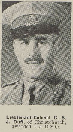 Photograph of Lieutenant-Colonel C.S.J. Duff published in the Auckland Weekly News, 14 October 1942. Auckland Libraries Heritage Collections AWNS-19421014-19-5. Image has no known copyright restrictions.