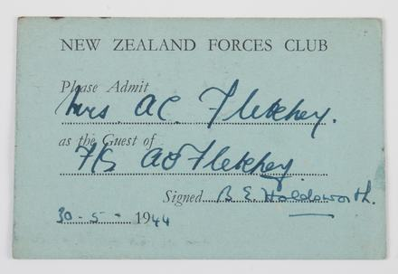 guest card, New Zealand Airforces Club