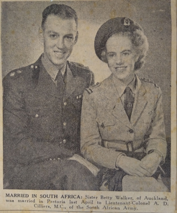 Newspaper clipping of Sister Betty Walker and her husband Lieutenant-Colonel A.D. Cilliers, MC of the South African Army.  Featured in The New Zealand Herald, Volume 82, Issue 25344, 27th October 1945. Taken from the Museum's Collection.