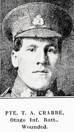 Portrait of Private Thomas Alfred Crabbe, Auckland Weekly News, 15 June 1915. Auckland Libraries Heritage Collections AWNS-19150610-45-12. Image has no known copyright restrictions.