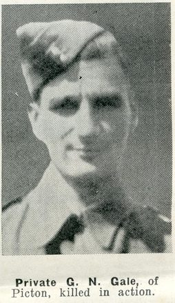 Portrait of Private George Noel Gale, Auckland Weekly News, 7 January 1942. Auckland Libraries Heritage Collections AWNS-19420107-29-24. Image has no known copyright restrictions.