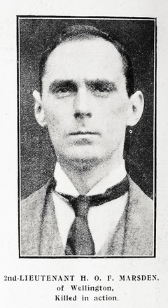 Portrait of Second Lieutenant Harry Oswald Furlong Marsden, Auckland Weekly News, 8 November 1917, Auckland Libraries Heritage Collections AWNS-19171108-40-10. Image has no known copyright restrictions.