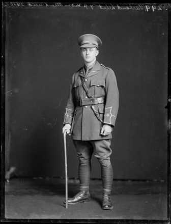World War I soldier Lieutenant E H Garland, in military uniform. Ref: 1/1-013965-G. Alexander Turnbull Library, Wellington, New Zealand. /records/22502120
