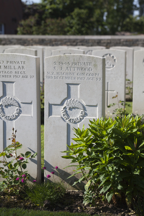 Headstone of Private Sidney James Attwood (23945). Menin Road South Military Cemetery, Ieper, West-Vlaanderen, Belgium. New Zealand War Graves Trust (BECR0841). CC BY-NC-ND 4.0.