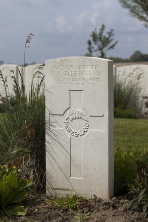 Headstone of Private James Alexander Fitzpatrick (12/3013). Nine Elms British Cemetery, Poperinge, West-Vlaanderen, Belgium. New Zealand War Graves Trust (BEDA9528). CC BY-NC-ND 4.0.