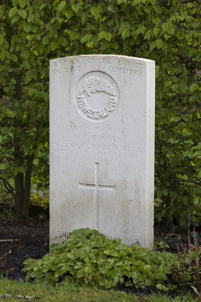 Headstone of Private David Thompson Brown (38114). Strand Military Cemetery, Comines-Warneton, Hainaut, Belgium. New Zealand War Graves Trust (BEEB7229). CC BY-NC-ND 4.0.