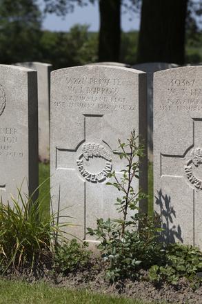 Headstone of Private Wallis John Burrow (56221). Lijssenthoek Military Cemetery, Poperinge, West-Vlaanderen, Belgium. New Zealand War Graves Trust (BECL9977). CC BY-NC-ND 4.0.