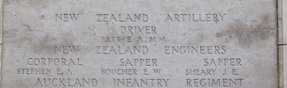 Headstone of Sapper Edgar Woodward Boucher (4/1736). Tyne Cot Memorial, Zonnebeke, West-Vlaanderen, Belgium. New Zealand War Graves Trust (BEEH7869). CC BY-NC-ND 4.0.