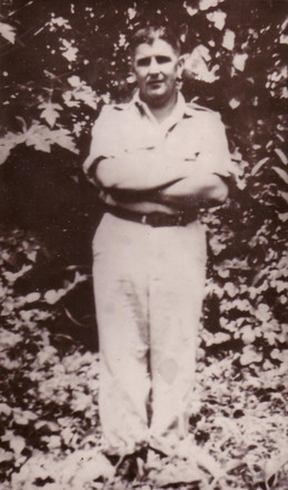 Photograph of John (Jack) Francis McEntyre in New Caledonia the Solomon Islands, c.Second World War. Image kindly provided by Thomas McEntyre (August 2019). Image may be subject to copyright restrictions.