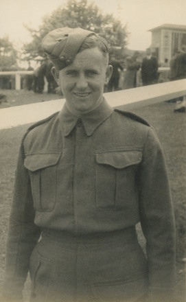 Photograph of Gunner Charles Leslie Brown 442406 at Ellerslie Racecourse, 1942. Image kindly provided by Christine Brown (August 2019). Image has no known copyright restrictions.
