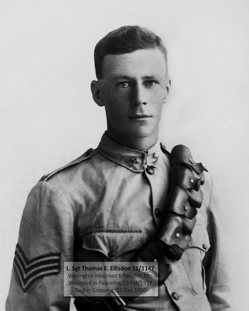 Portrait of Lance Sergeant Thomas Edward Ellisdon, Wellington Mounted Rifles. Photograph taken in April 1917 while in Cairo, Aotea Convalescent Home, after being wounded at Khan Yunus, near Egypt/Palestine border. Image kindly provided by Gillian Ward (August 2019). Image has no known copyright restrictions.