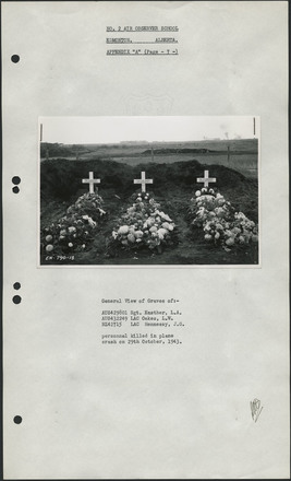 """No. 2 A.O.S., Edmonton, Alberta Appendix """"A"""", page 7 - View of Graves of AUS429801 Sgt. Easther, L.A., AUS432249 LAC Oakes, L.W., NZ42715 LAC Hennessy, J.G. personnel killed in plane crash on 29th October 1943. Library and Archives Canada (4933979 - No. 2 Air Observer School, Edmonton (RG24-E-7)). Image has no known copyright restrictions."""