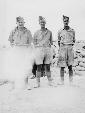 Photograph of Bren gun team (from left) Arthur William (Moss) Squire 16770, Philip Joseph Kent 17193 and Keith Noble Win 17079. From the collection of Arthur William (Moss) Squire 16770, 23 Battalion. Image kindly provided by Roger Sommerville (September 2019). Image may be subject to copyright restrictions.