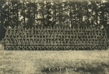 Photograph of 27th Reinforcements E Company. Edward Cronin third from left in the front row. Image kindly provided by Michael Nuth, supplied by the Owaka Museum, The Caitlins (September 2019). Image has no known copyright restrictions.