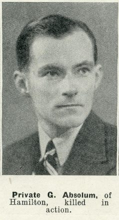 Portrait of Private Graham Absolum, Auckland Weekly News, 21 January 1942. Auckland Libraries Heritage Collections AWNS-19420121-29-12. Image has no known copyright restrictions.