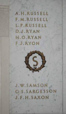 Auckland War Memorial Museum, South African War 1899-1902 Names Russell, A.H. - Saxon, J.F.H. (digital photo J. Halpin 2011)