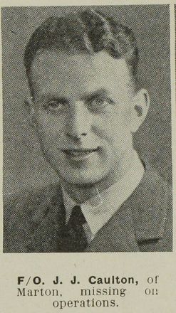 Portrait of Flying Officer John Jeremy Caulton, Auckland Weekly News, 12 July 1944. Auckland Libraries Heritage Collections AWNS-19440712-22-23. Image is subject to copyright restrictions.