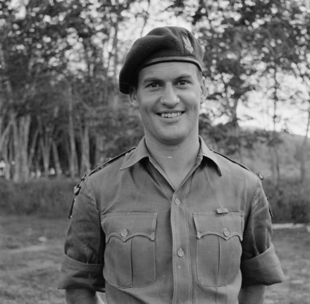 Photograph of Lieutenant John Airth Mace, New Zealand Special Air Service, in Malaya, c.1957. Photographer unknown. Alexander Turnbull Library, Wellington, M-1939A-F. Image is subject to copyright restrictions.