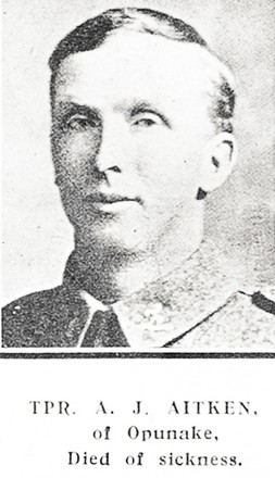 Portrait of Trooper Andrew James Aitken, Auckland Weekly News, 12 September 1918. Auckland Libraries Heritage Collections AWNS-19180912-41-31. Image has no known copyright restrictions.