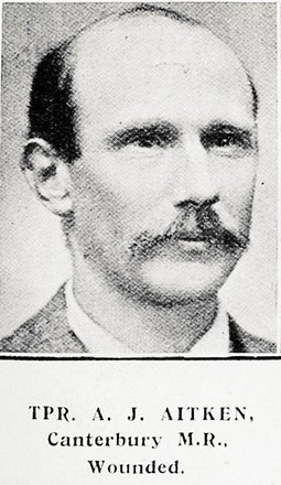 Portrait of Trooper Andrew John Aitken, Auckland Weekly News, 16 September 1915. Auckland Libraries Heritage Collections AWNS-19150916-41-33. Image has no known copyright restrictions.