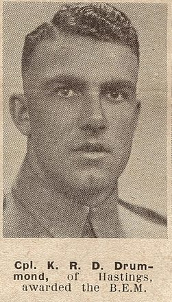 Portrait of Corporal Kenneth Roderick David Drummond, Auckland Weekly News, 1 December 1943. Auckland Libraries Heritage Collections AWNS-19431201-20-30. Image has no known copyright restrictions.