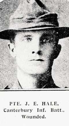 Portrait of Private James Eugene Hale, Auckland Weekly News, 14 October 1915. Auckland Libraries Heritage Collections AWNS-19151014-45-6. Image has no known copyright restrictions.