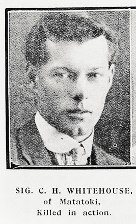 Portrait of Signaller Cyril Hale Whitehouse, Auckland Weekly News, 9 August 1917. Auckland Libraries Heritage Collections AWNS-19170809-41-25. Image has no known copyright restrictions.