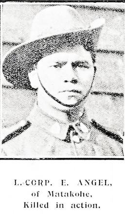 L. Corp. E. Angel, of Matakohe. Killed in action. Taken from the supplement to the Auckland Weekly News 21 February 1918 p038. Auckland Libraries Heritage Collections AWNS-19180221-38-21. No known Copyright.