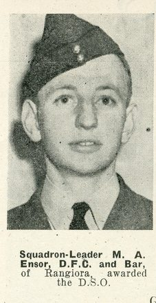 Portrait of Squadron Leader Maechel Anthony Ensor, Auckland Weekly News, 14 April 1943. Auckland Libraries Heritage Collections AWNS-19430414-14-1. Image has no known copyright restrictions.