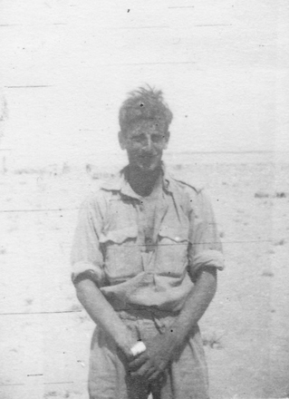 Photograph of James Michael Hennessy, Western Desert, c.Second World War. From the collection of Arthur William (Moss) Squire 16770, 23 Battalion. Image kindly provided by Roger Sommerville (December 2019). Image may be subject to copyright restrictions.