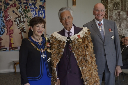 Portrait of the Rt Hon Dame Patsy Reddy, Matutaera Clendon and Sir David Gascoigne at the ONZM Investiture of Matua Clendon for services to Maori. October 2018. Image maybe subject to copyright. https://gg.govt.nz/image-galleries/7930/media?page=1