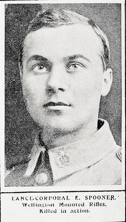 Lance-Corporal E. Spooner, Wellington Mounted Rifles, killed in action. Taken from the supplement to the Auckland Weekly News 21 October 1915 p038. Auckland Libraries Heritage Collections AWNS-19151021-38-14. No known copyright.