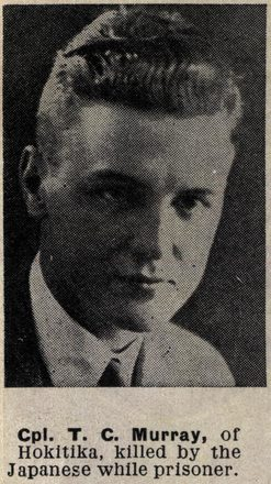 Portrait of Corporal Thomas Colin Murray, Auckland Weekly News, 6 December 1944. Auckland Libraries Heritage Collections AWNS-19441206-26-1. Image has no known copyright restrictions.