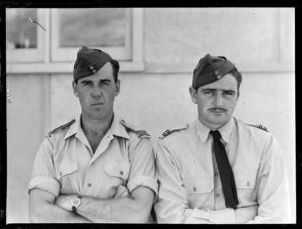 Neville, D.F. First Lieutenant, Tucker, A.F. First Lieutenant, Royal New Zealand Air Force. Ref: WA-01427-G. Alexander Turnbull Library, Wellington, New Zealand.