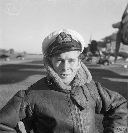 Photograph of Sub Lieutenant (A) Roger Joseph Foxley at Gibraltar, February 1944. Imperial War Museum, Admiralty Official Collection, A 21835. Image is subject to copyright restrictions.