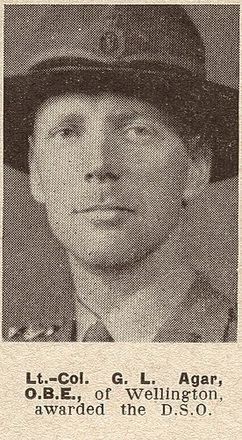 Portrait of Lieutenant Colonel George Lawrence Agar, Auckland Weekly News, 17 November 1943. Auckland Libraries Heritage Collections AWNS-19431117-20-37. Image has no known copyright restrictions.