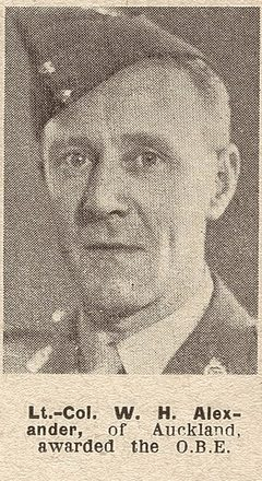 Portrait of Lieutenant Colonel William Hunter Alexander, Auckland Weekly News, 17 November 1943. Auckland Libraries Heritage Collections AWNS-19431117-20-38. Image has no known copyright restrictions.