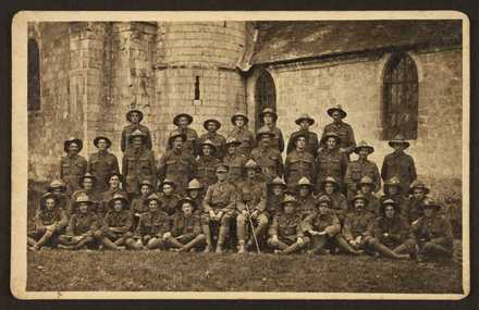 Canterbury Section, 2nd Company NZMGC, August 1916. Canterbury Section 2nd Coy N.Z.M.G.C Absent Lt. Mawson, Pvt Nant, Corbett. 4 Back Row Coup, Gunion, Coleman, W Blackie. McNamara, W. J. Norton, T. L. Hazleton. Middle Row, T. Smith, Mohr, E Pope, E. Carr, N. M. McQueen, W. Mansfield, G Clark, P. Kennedy, D. R. McLean, G Woodhead, R. L. Lloyd. Sitting J Geddes, C. J. Dugdale, F Little, Archibald, T. M O'Leary J Anderson, Lt Hayhurst, Lt Ashby, O. Blackie, B. Blackie, Shields J Walsh, C Coles, R Gillespie. Front Row. Hobcroft, P. J. Gaffney, Thomason Wyatt, T Rainey, V McNamara, Gould, Gluyas, J Bishop, G Hatton At Picquigny on way to Somme August 1916. Letters to family. Ref: MS-Papers-6406-2. Alexander MS-Papers-6406-2_001_R. /records/22894582
