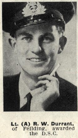 Portrait of Lieutenant (A) Reginald Walter Durrant, Auckland Weekly News, 9 August 1944. Auckland Libraries Heritage Collections AWNS-19440809-24-41. Image is subject to copyright restrictions.