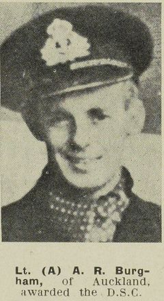 Portrait of Lieutenant (A) Allan Russell Burgham, Auckland Weekly News, 4 April 1945. Auckland Libraries Heritage Collections AWNS-19450404-28-26. Image is subject to copyright restrictions.
