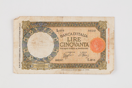 banknote, 2019.62.542, Photographed 07 Feb 2020, © Auckland Museum CC BY